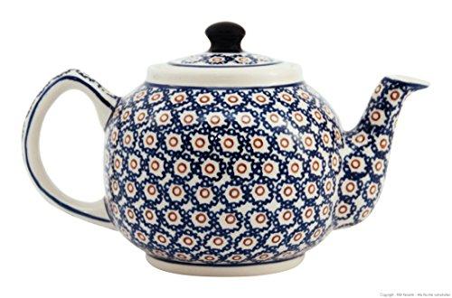Original Bunzlauer Keramik Teekanne 1 Liter im Retro-Dekor 4