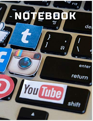 NOTEBOOK: College Ruled Notebook - Computer Keyboard with Social Media Icons Large (8.5 x 11 inches) - 140 Pages