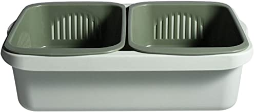 TOPBATHY Kitchen Food Strainer Double Layer Kitchen Colander Container Washing Basket Drain Basin Basket for Spaghetti Pas...