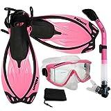 Promate Snorkeling Scuba Dive Panoramic Purge Mask Dry Snorkel Fins Gear Set, Pink, ML/XL