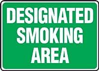 Accuform MSMK590VA Aluminum Safety Sign Legend DESIGNATED SMOKING AREA 10 Length x 14 Width White on Green [並行輸入品]