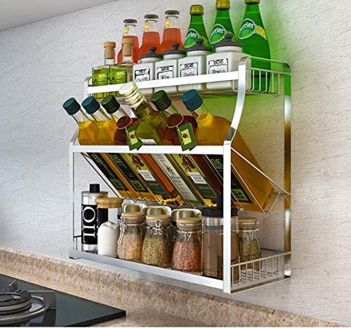 Alaeo 3-Etapa Especias Estante, botellero de Acero Inoxidable en el montable en Pared, Caja de Almacenamiento de Especias de la Cocina, envase Estante Organizador de Especias- A