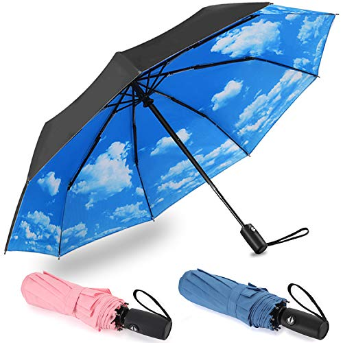 Pack of 3 Auto Open Compact Travel Umbrellas, Lightweight Windproof Folding Rain Umbrellas, 42 inches Canopy (Edition 2 - Blue Sky, Navy, Pink)