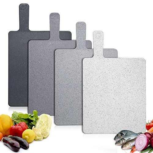 Tabla de Cortar Cocina Plástico 4 Unidades, Tablas de Cortar Con Mango y Estante, Sin BPA, Para lavavajillas, Resistencia a Altas Temperaturas, Resistente al Desgaste, Antideslizante Hodekt