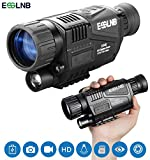 "ESSLNB Night Vision Monocular 5X40 Night Vision Infrared IR Camera HD Digital Night Vision Scopes with 1.5"" TFT LCD Take Photos and Video Playback Function and TF Card for Hunting Security Surveilla"
