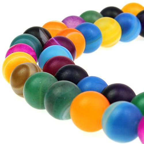 JARTC Natural Stone Beads Matte Frosted Colorful Stripe Agate Loose Beads for Necklace Bracelet Charms Jewelry Making (8mm)