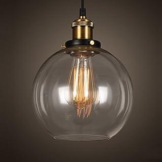 EMOTREE 1 x szklany klosz w kształcie kuli, lampa wisząca, retro w kształcie kuli, nostalgiczna lampa do żarówki E27