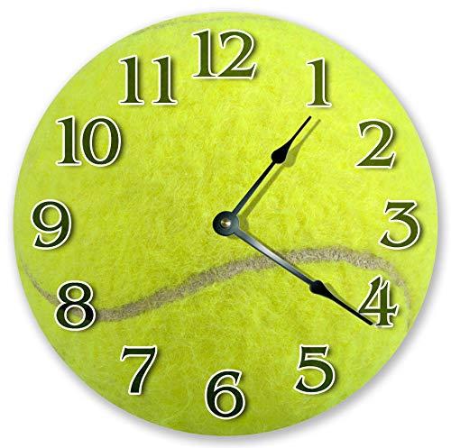 Orologio da parete, Tennis Ball Clock Prato Tennis Amante Orologio Soggiorno Orologio Grande Orologio da Parete in Legno Stampa Home Decor Clock 3456 25,4 cm