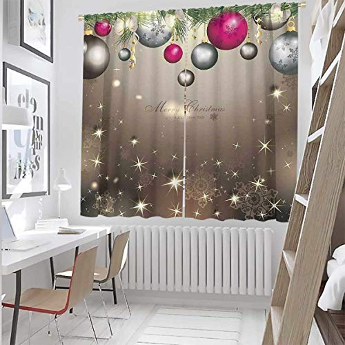 Christmas 99% Blackout Curtains Snowman with hat in The Garden with Gift Box and Lantern Image for Bedroom,Kindergarten,Living Room W52 x L95 Inch