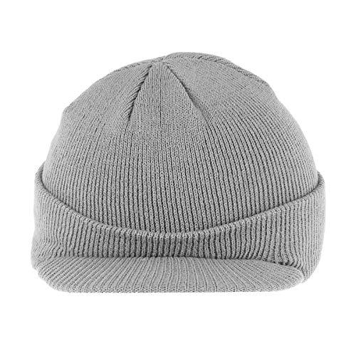 Berretto a visiera isolante caldo lavorato a maglia invernale elegante berretto di punta per uomo donna (grigio chiaro)