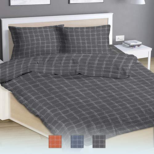 Sways Cotton Duvet-Cover-Sets Single Extra Long, Nordic Check Design Grey-Bedding-Set Plain Weave Cotton With Smart White Zipper Closure, 140cm x 220cm + 50cm x 70cm (Cotton XL Single Quilt-Covers)