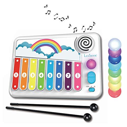 LEXIBOOK- Xylofun Xilófono electrónico y Educativo para niños, Juguete Musical, 8 Teclas, guía de luz, 2 mazos incluidos, Blanco/Azul