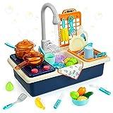 Diealles Shine Waschbecken Spielzeug, Spülbecken Küchenset, Küchenspielzeug mit Wasserkreislauf Geschirrspüler, Kinderspielzeug Rollenspiel (Blau)