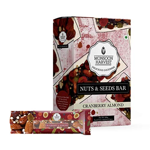 Nuts & Seeds Energy Bars - Cranberry & Almond - 180 g (Pack of 6 x 30g) Healthy Snack Bars