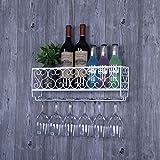 FPigSHS Armarios para Vino Botelleros Soporte de Copa de Vino Estante de Vino Pared Colgante al revés Tazas Colgantes de pie Copa de Armario Colgante Almacenamiento múltiple Barra de Vino de la casa