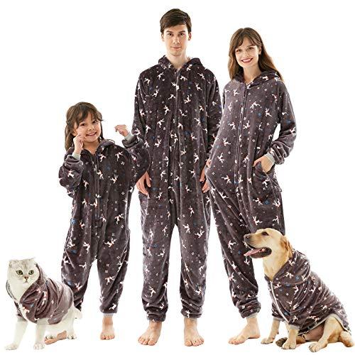 Weihnachten Schlafanzug,Familie Schlafoverall Pyjama Set kuschelige Nachtwäsche Flanell Onesie mit Kapuze für Herbst Winter Halloween Weihnacht Neujahr 4 Farben 24 GrößenM