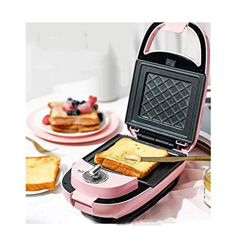 AMYZ Muffin Maker Sandwich Toaster Machine Small Double-Sided Pressure Machine Waffle Maker,with 5 Kinds of Baking Trays and Timing Function,Can Make Eggs,Doughnuts and Other Foods,Pink