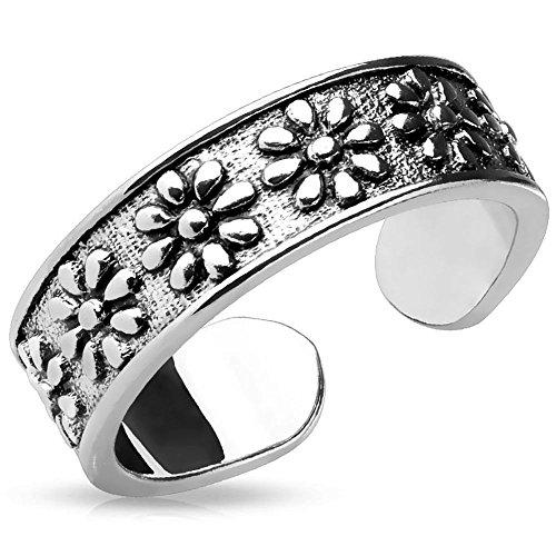 Bungsa® Blüten Zehring silber Damen Brass (Zehenring Fussschmuck Fussring Toe-Ring Nail Ring Nagelring biegbar verstellbar)