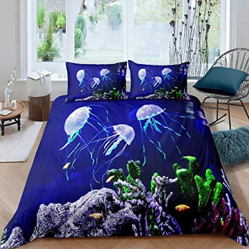Funda Nordica Cama 90 cm,Coral Medusa Azul Suave Respirable Microfibra,Modernas Estampados Funda de Edredón 135x200 cm con 2 x Funda de Almohada 50x75 cm con Metal Cremallera