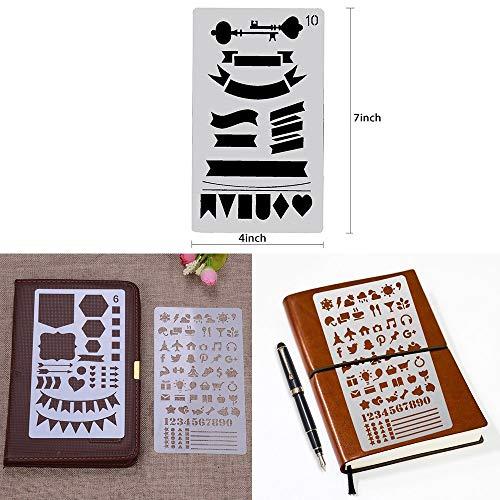 HE-TOP Pochoir Bullet Journal, 20 Pièces Pochoir Enfants à Dessin en Plus de 1000 Différents Modèles, Album/Cahier/Journal Intime/Art/Clipart DIY Modèle 4x7 Pouces