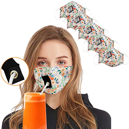 Review GGGG 5pc Cotton Face Bandanas with Straw Hole, Washable Reusable Dustproof Floral Print Mouth...
