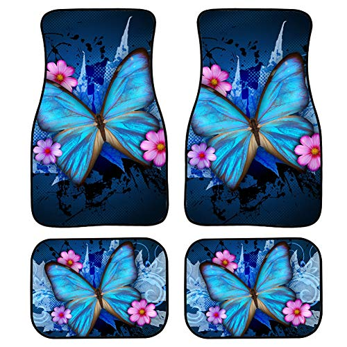 Upetstory Unique Butterfly Clean Car Floor Protector Garage Mat Best for Women 4 Piece Heavy Duty Car Floor Mat Blue