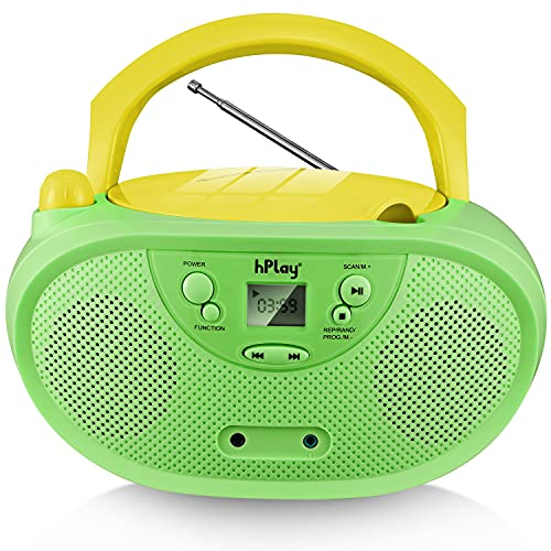 hPlay GC04 Portable CD Player Boombox with AM FM Stereo Radio Kids CD Player LCD Display, Front Aux-in Port Headphone Jack, Supported AC or Battery Powered - Pastel Green
