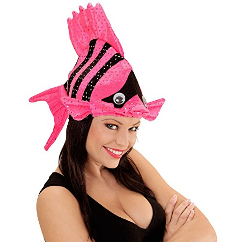 NET TOYS Lustige Fischmütze Tropen Fischhut pink Fisch Hut Mütze Tierhut Tiermütze Fisch Hut Mütze Faschingshut Nemo