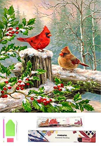 Fundaful 5D Diamond Painting Kits for Adutls Kids, Full Drill Round Rhinestone Paint with Diamond Cross Stitch Embroidery Art Craft Cardinals Birds Winter 16x12in