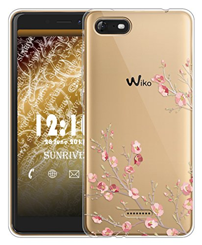 Sunrive Für Wiko Tommy 3 Hülle Silikon, Transparent Handyhülle Schutzhülle Etui Hülle für Wiko Tommy 3(TPU Blume)+Gratis Universal Eingabestift