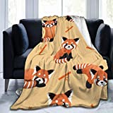Happy New Year Blanket Blankets Queen Size,Cute Red Panda and Bamboo 50x40inch Bed Blanket and Throws