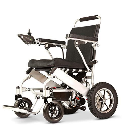 Silla de ruedas eléctrica portátil y plegable, completamente automática, 4 ruedas, para personas mayores, desactivada, batería de iones de litio, resistencia 20 km