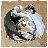 Pepkgk 5D DIY Accesorios de Pintura de Diamantes Yin Yang Dragon Pintura Cuadrada Completa Mosaico de Diamantes de imitación Regalo decoración del hogar 30x30cm