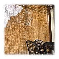 サンシェードリードローラーブラインド、カスタマイズ可能なカーテン手織りサンシェード、通気性/アンチUV、屋外/屋内/ガーデン/バルコニー/窓用