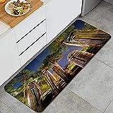 """MUYIXUAN Tappeto da cucina, Cielo della foresta della pianta dell'albero di sera di stile tailandese,tappetino da cucina decorativo con supporto antiscivolo, 47""""x17"""""""
