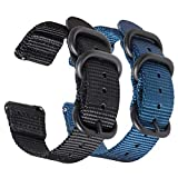 Zeit Diktator 2PCS Pack Watch Band for Samsung Gear S3 Watch,22mm Nylon Band with Screen Protection Film Compatible with Samsung Gear s3 Frontier/Classic/Galaxy Watch 46mm (Black+Royal Blue)