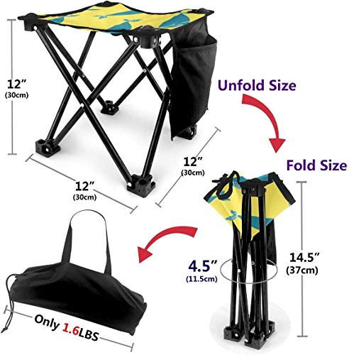 LLOOP Camping Stool Folding Chic Animal Blue Whale Portable Chair Camping Hunting Fishing Travel with Carry Bag