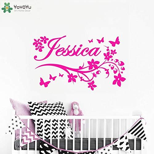 Fotobehang vlinder aangepaste naam muursticker vinyl verwijderbare babykamer slaapkamer persoonlijkheid decoratie 57x33cm