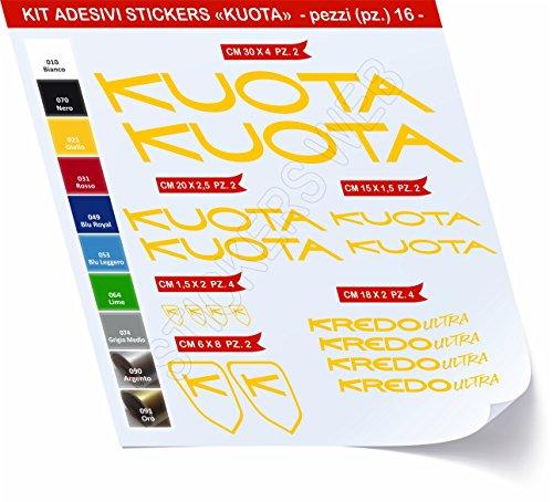 Adesivi Bici KUOTA Kredo Ultra Kit Adesivi Stickers 16 Pezzi -Scegli SUBITO Colore- Bike Cycle pegatina cod.0421 (Giallo cod. 021)