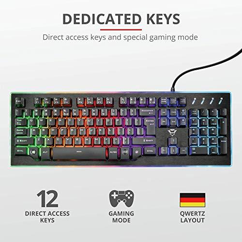 Trust GXT Halbmechanische LED Gaming Tastatur (Deutsches QWERTZ Layout, RGB-Beleuchtung, Anti-Ghosting)