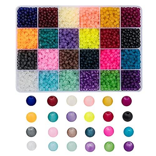 Cheriswelry Cerca de 600 piezas de 24 colores de cuentas de vidrio esmerilado de 8 mm de bola redonda transparente espaciadores de vidrio mate para joyas collares pulseras fabricación
