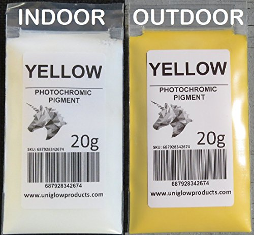 PhotoChromic Pigment Changes Colors When Exposed to Sunlight or UV Light, and reverts to its Original Color When Sunlight is Blocked. (5g, Yellow)