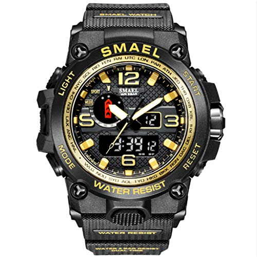 Gnaixyc Relojes Deportivos para Hombre, Resistente Al Agua Digital Militares Relojes con Cuenta Atrás, LED De Analógico Relojes De Pulsera para Hombre,Black Gold