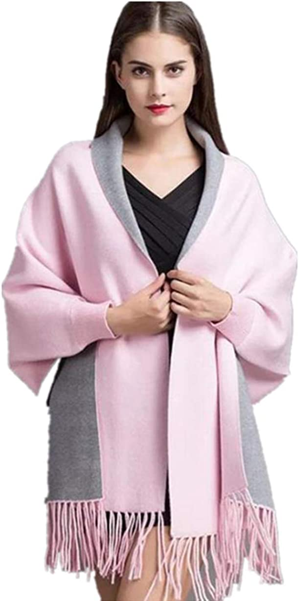 Timetries Women's Scarf Double-sided Shawl Scarf Fringe with sleeve Cape Gray Pink