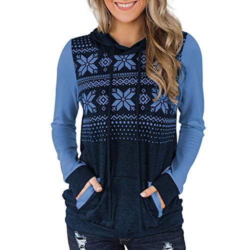IFOUNDYOU Femme Sweat a Capuche Noël 2020 Nouveau Sweat-Shirt Manches Longues Automne Hiver Chaud Impression Flocon de Neige Chic Confortable Christmas Hoodie