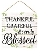 Craig Bachman Thankful Grateful and Truly Blessed Wooden Farmhouse Sign (12 Inches x 12 Inches)