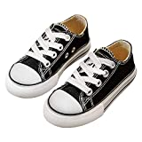 iFANS Boys and Girl Low Top Canvas Kids Lace up Sneakers Black