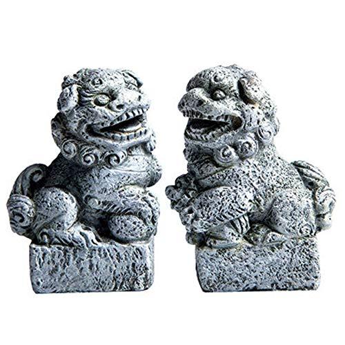 LINGS EIN Paar Pekinger Löwenpaare Fu FOO Dogs Statuen, Resin Guardian, chinesisches Feng Shui-Dekor, für Heim und Büro, ziehen Wohlstand und viel Glück an