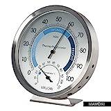 MAVORI Thermo-Hygrometer analog - Feuchtigkeitsmesser aus hochwertigem Edelstahl für eine zuverlässige und komfortable Raumklima Kontrolle
