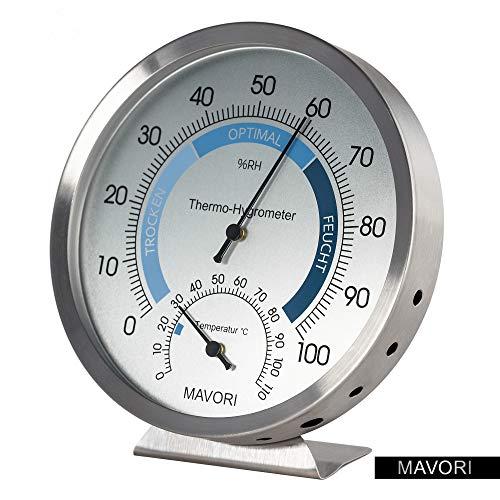 MAVORI Thermo-Hygrometer analog - Feuchtigkeitsmesser aus hochwertigem Edelstahl für eine...